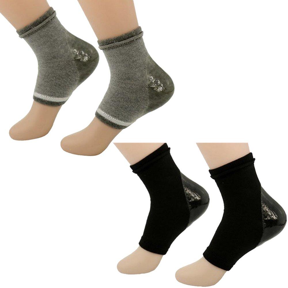 2Pairs Moisturizing Whitening Anti-dry Gel Heel Socks Soft Breathable Non-slip Shock-proof Repair Dry Cracked Skin Night Care Foot Protector Open Toe Socks Vococal