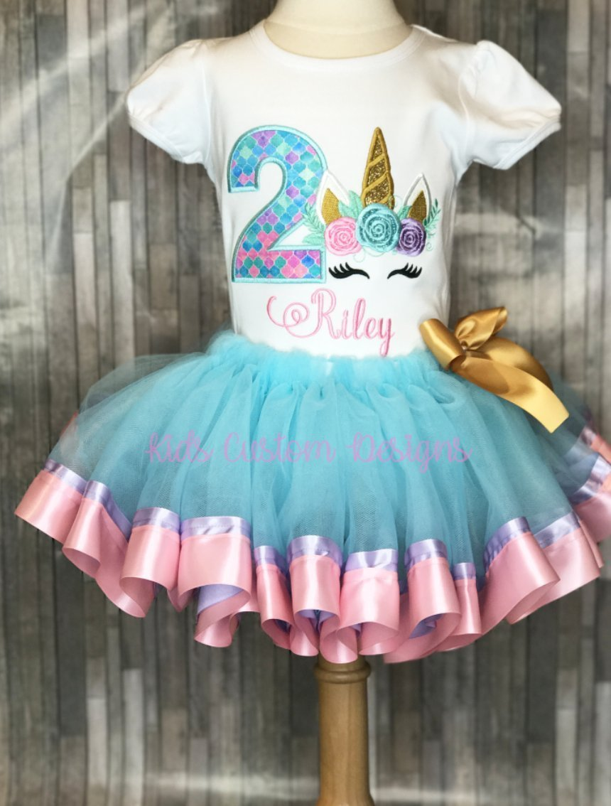 Amazon Unicorn Birthday Outfit Embroidered Shirt 1st 2nd 3rd Any Age Handmade