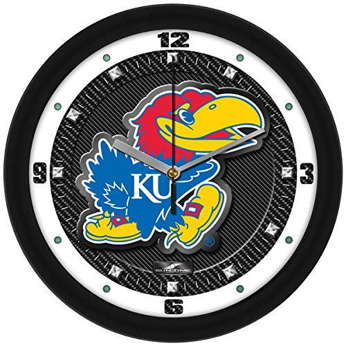 (SunTime NCAA Kansas Jayhawk Textured Carbon Fiber Wall Clock)