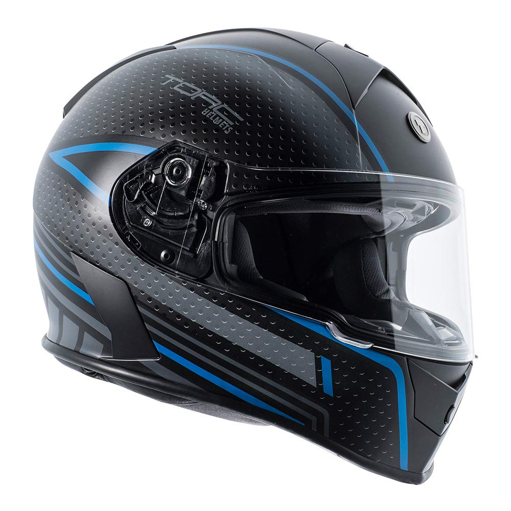 TORC Unisex-Adult T14B Blinc Loaded Mako Full Face Motorcycle Helmet Flat Black with Scramble Blue Graphic, X-Small