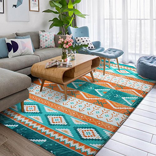 Mediterranean Sea Geometry Home Rugs - MeMoreCool Seven Patterns No Fading Anti-slipping Coral Fleece Living Room Tea Table Carpets 79 X 94 (Tea Bag Tiles)