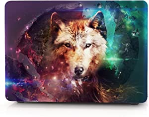 """HRH Lone Wolf Pattern Design Laptop Body Shell Protective PC Hard Case for MacBook Air 13.3"""" (A1466 / A1369),Not Compatible 2018 Version A1932"""