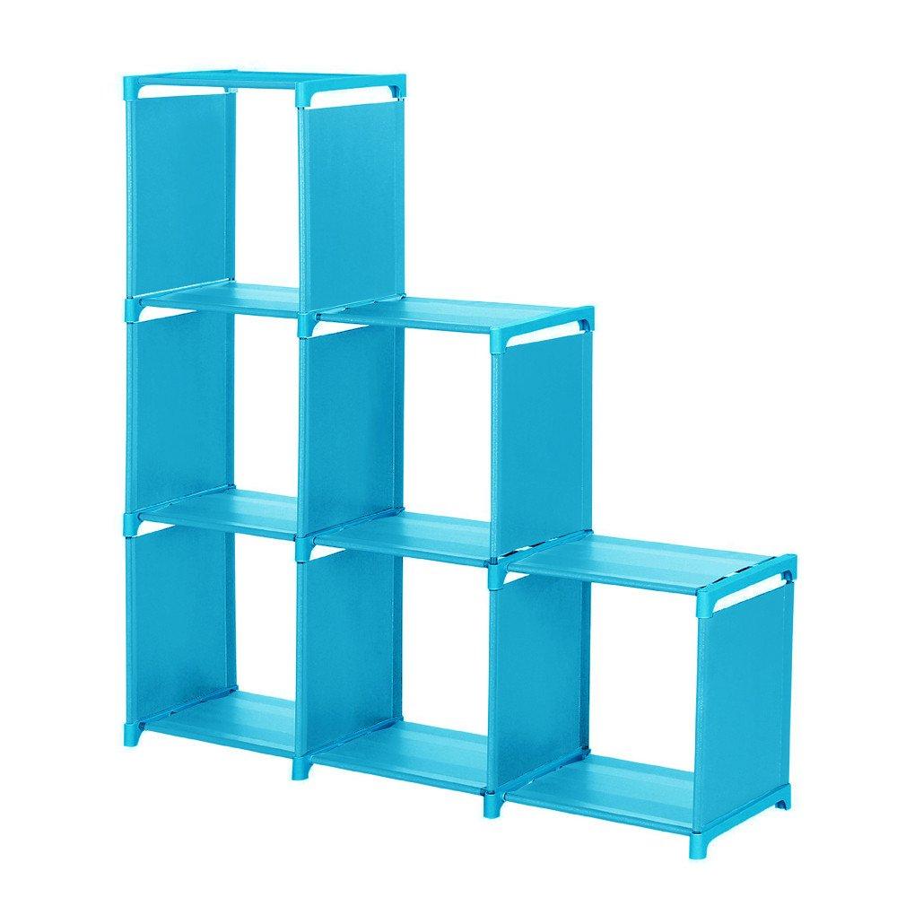 NLGToy 3 Tier Storage Cube Closet Organizer Shelf 6-Cube Storage Cabinet Bookcase Space-Saving Cube Storage Unit,Free Standing Flat Racks Classic Style - Multi Function Shelf Organizer (Blue) by NLGToy