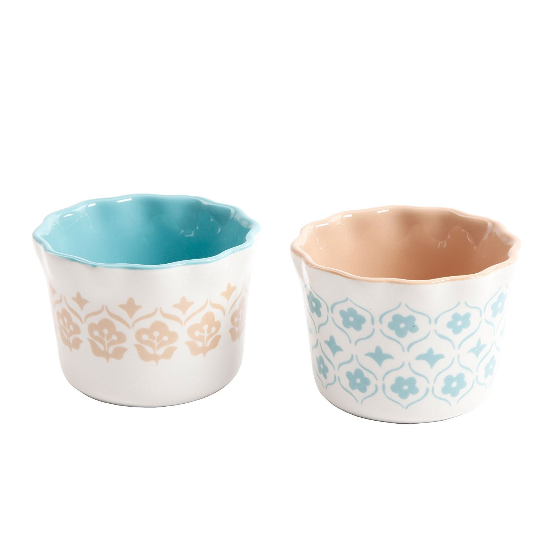 Cottage Chic 7 oz Ramekins Hand Painted Stoneware Ramekins 3 Assorted designs ( 2 of each design ) for Souffle, Custard, Pudding, Desserts Set of 6