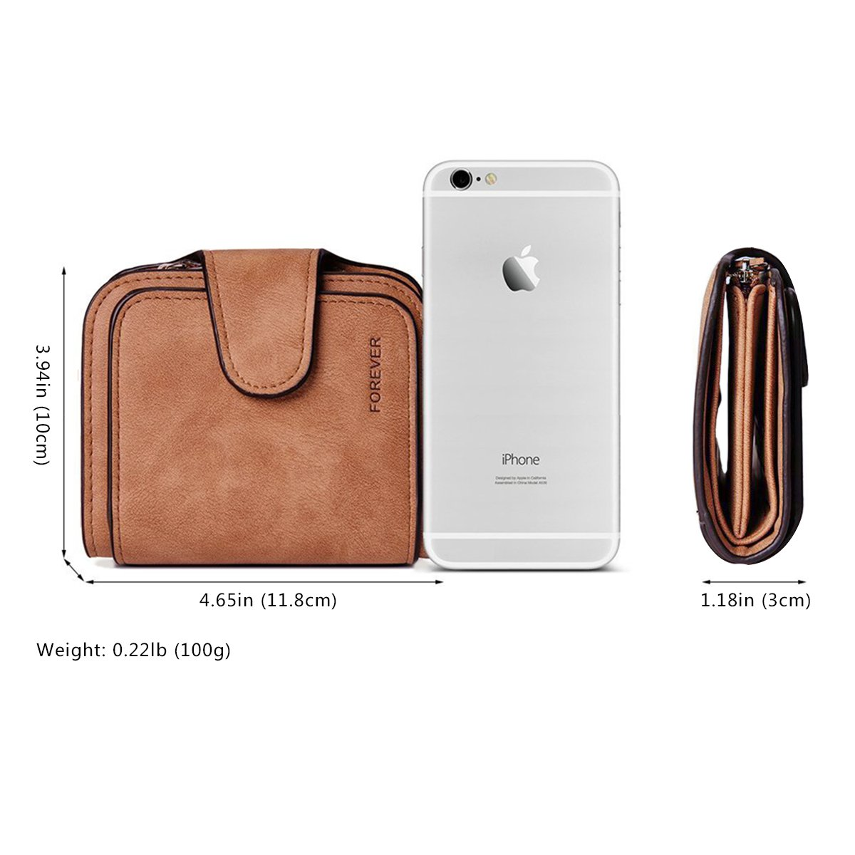 Wallet for Women Leather Clutch Short Purse Ladies Credit Card Holder Organizer with Zip Pocket - Brown by EUGO (Image #6)