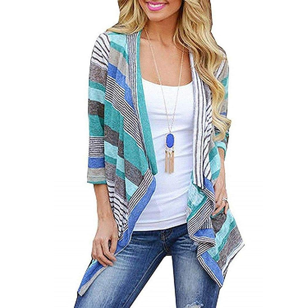 Goodfans Women Casual 3/4 Sleeve Patchwork Asymmetry Hem Loose Long Cardigan Cardigans Blue