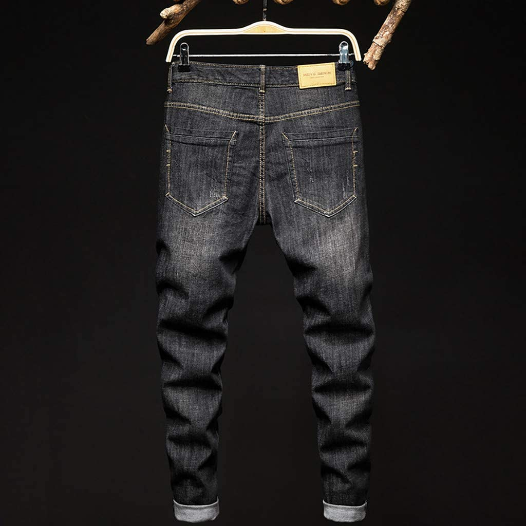 Mens Fashion Printed Slim Jeans Classics Stretch Denim Pants Casual Fashionable Denim Jeans