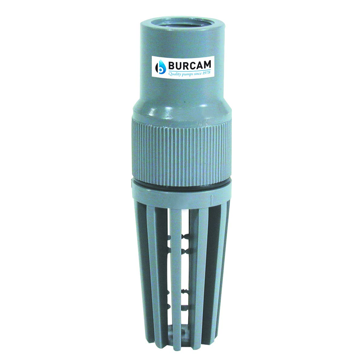 BURCAM 750753P 1 1//4 PVC Universal Fit Foot Valve Grey