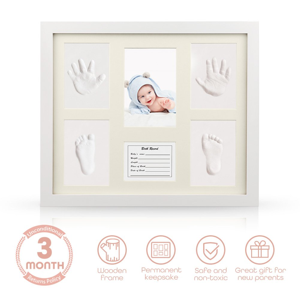 Baby Handprint Kit, iSiLER Baby Shower Keepsake Kit For Parents, Baby Handprint and Footprint Frame Kit For Room Wall or Table Decor, Premium Clay & Wood Frame Non Toxic and Safe