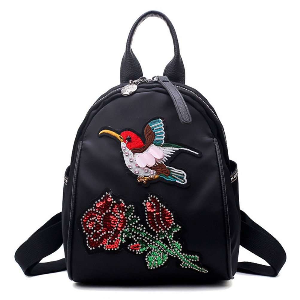 Fine butterfly birds pattern small backpack rucksack for women and girls (3)