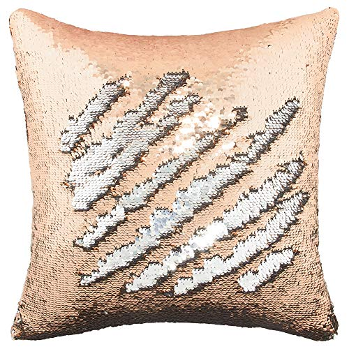 Play Tailor Mermaid Sequin Pillow Case Magic Reversible Sequin Pillow Cover Throw Cushion Case 16x16(Champagne-Silver)