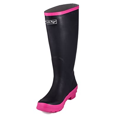 Amazon.com | Charlie Paige Ladies Black with Pink Trim Rubber Rain ...
