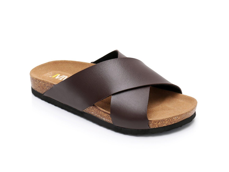 Women Leather Sandals Arizon Slide Shoes (US 11, Brown)