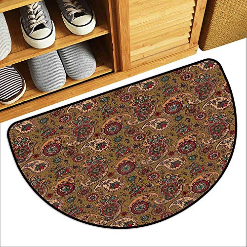 DILITECK Welcome Door mat Paisley Vintage Inspired Multicolored Leaf Authentic Flower Motif in Earth Tones Print Super Absorbent mud W30 xL18 Multicolor
