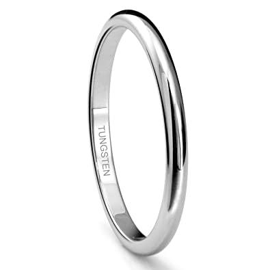 Tungsten Metal 2MM Plain Dome Wedding Band Ring Sz 40
