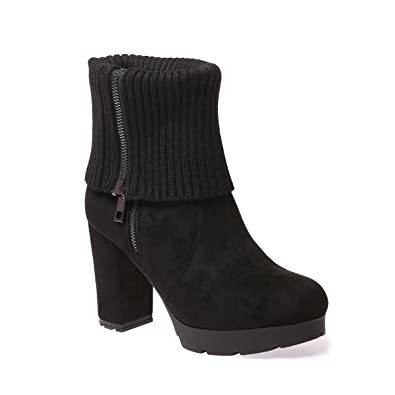 La Modeuse - Bottines chaussettes femmes avec revers à strass mnkcSmX