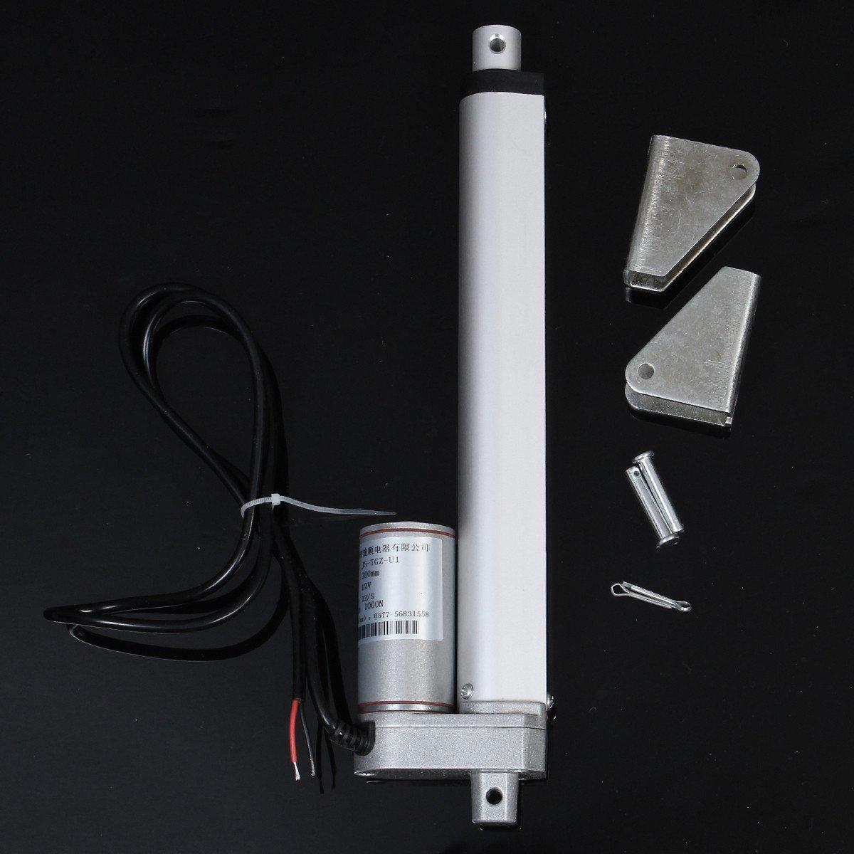 ChaRLes Aluminium 8 Pouces 200Mm 12V 1000N 225Lb 12Mm/S Miniature Dc Électrique Actionneur Linéaire Moteur