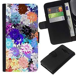 Patrón de la primavera Flores de la margarita de Primavera- la tarjeta de Crédito Slots PU Funda de cuero Monedero caso cubierta de piel Para Samsung Galaxy Core Prime