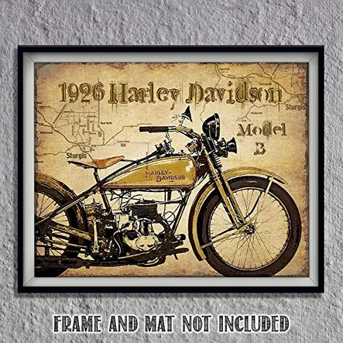 6 B Model Motorcycle Vintage Print with Sturgis Map- 8 x10 Wall Decor Image Ready To Frame. Harley Davidson Gifts. Home Decor- Office Decor. Perfect for Man Cave-Game Room-Garage. ()