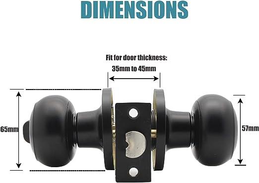 pomo de acero macizo manija de seguridad interior para trastero Pomo de puerta de privacidad con bola negra mate ba/ño 607 dormitorio