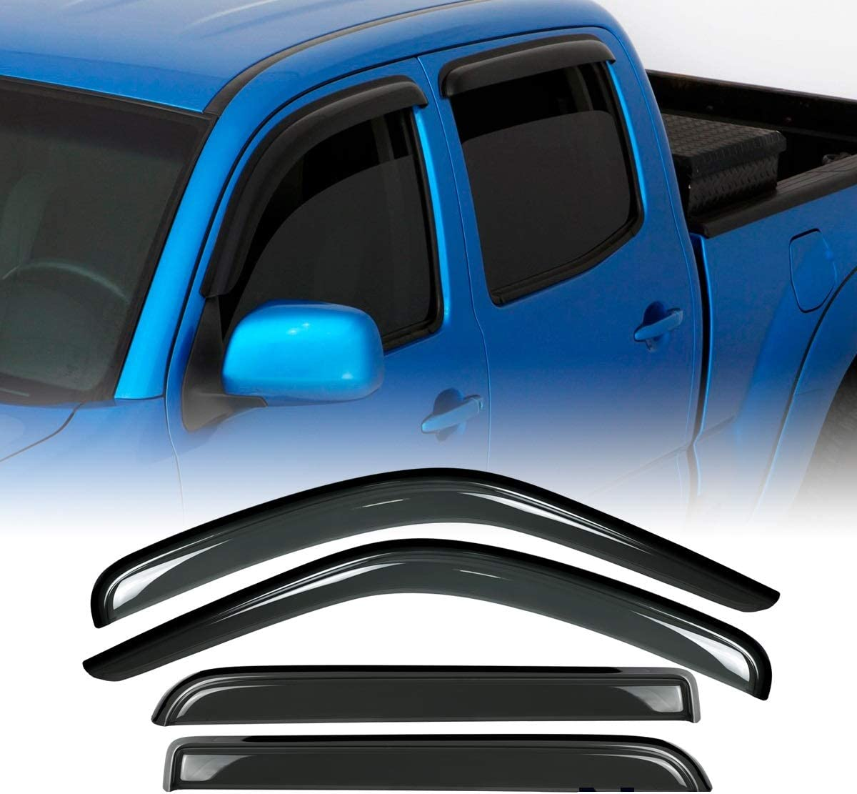 Deebior 4pcs for 95-04 Tacoma Access//Extended Cab Sun//Rain Guard Vent Shade Window Visor