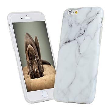 Funda Silicona iPhone 6S/6 Carcasa Ultrafina Mármol KASOS Case TPU Suave con Tratamiento Acabado de IMD y Dibujo de Mármol y Color Blanco Gris
