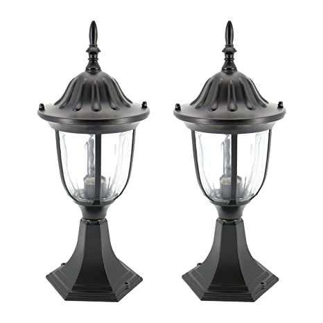 In Home 1 Light Outdoor Garden Post Lantern L03 Lighting Fixture Traditional Post Lamp Patio With One E26 Base Water Proof Black Cast Aluminum
