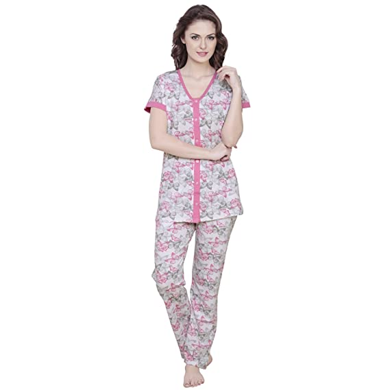 fda29db5d4 Claura Butterfly Printed Pink Women Cotton Night Suit Pyjama Set ...