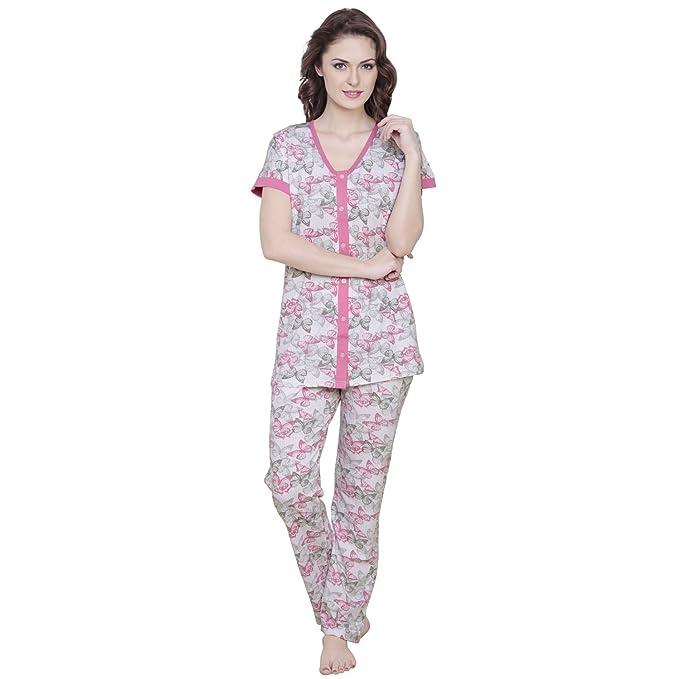 6b9ec4406d Claura Butterfly Printed Pink Women Cotton Night Suit Pyjama Set ...