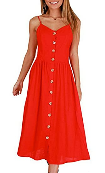 93bd61c0405 Faatoop Women s Summer Midi Dresses A-line Button Backless Spaghetti Strap  Dress with Pockets Sundress