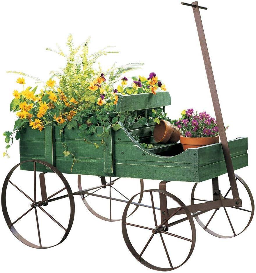 Amish Wagon Decorative Indoor/Outdoor Garden Backyard Planter Green