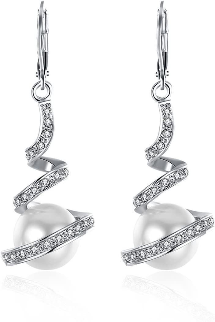 TININNA Pendientes Largos, Elegantes Pendientes Lágrima de la Luna con Zircon y Perla el Regalo Ideal para Día de San Valentín-Platino
