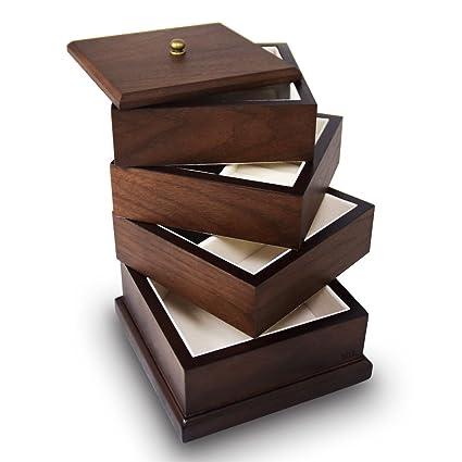 Amazoncom Ikee Design Premium Wooden Swivel Jewelry Box Organizer
