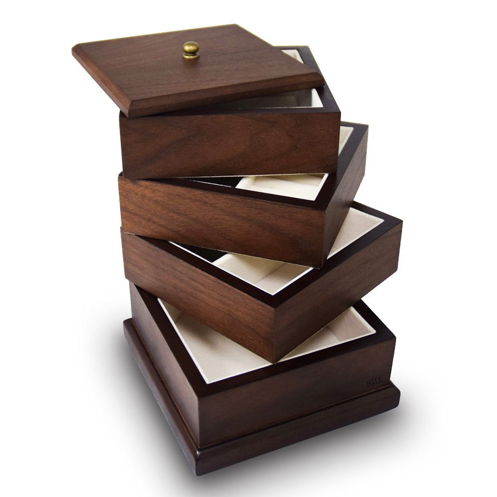 Bracelets Ikee Design Premium Wooden Swivel Jewelry Box Organizer Storage for Necklaces Rings Earrings