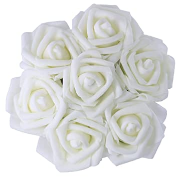 Amazon 50pcs artificial pe foam white roses flowers 236 inch 50pcs artificial pe foam white roses flowers 236 inch wedding bride bouquet real touch real looking mightylinksfo