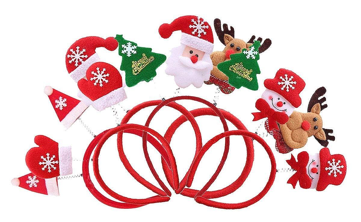LONGTEN Christmas Santa Claus Headbands Reindeer Hair Hoop Christmas Trees 6PCS Packs