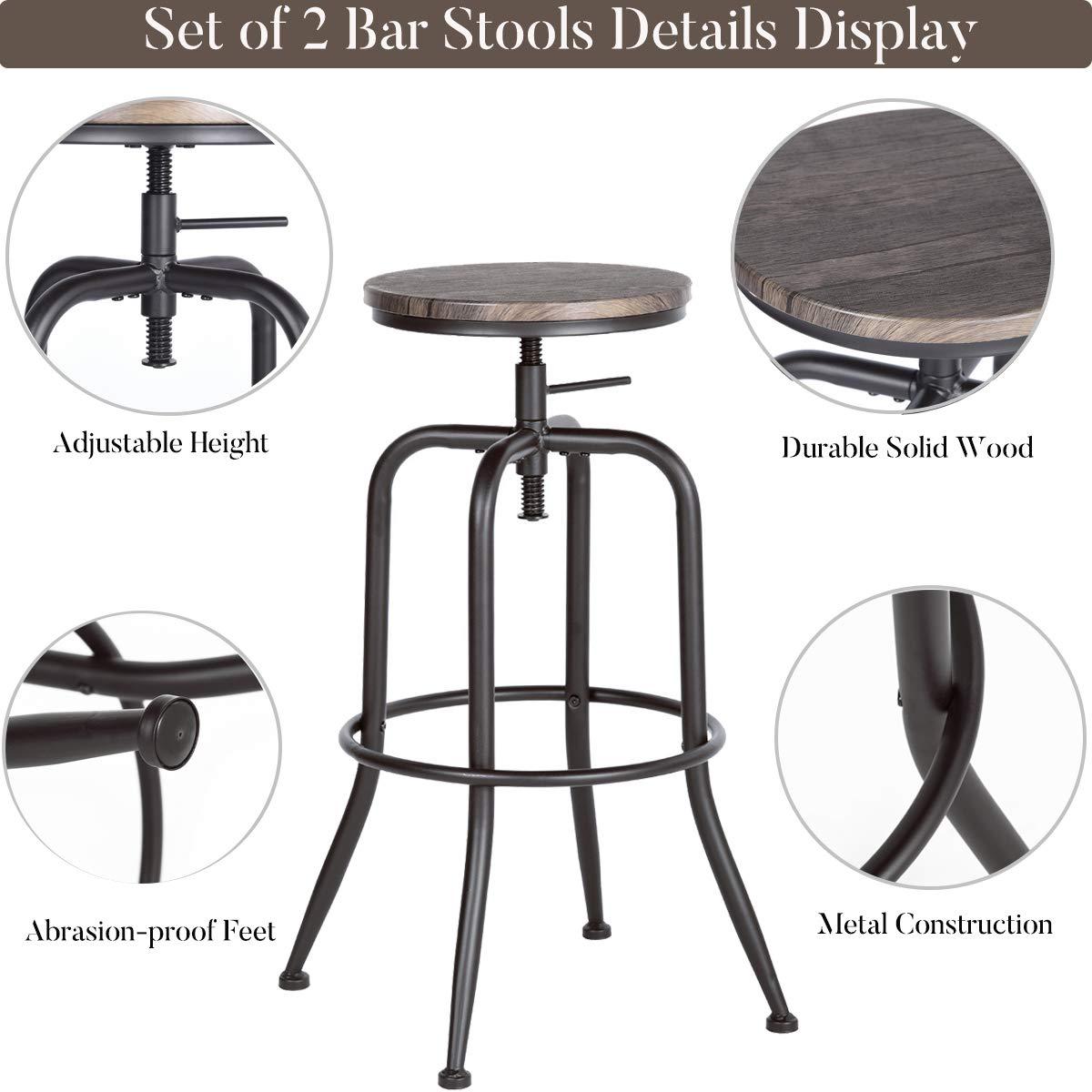 Aingoo Set of 2 Bar Stools Vintage Height Adjustable Wood Metal Design Industrial Bistro Pub Kitchen Counter Bar Stool Chair Brown
