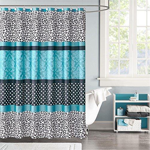 Teal Zebra Shower Curtain