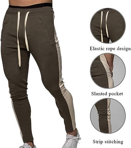 Puimentiua Pantalones de Ch/ándal para Hombre Pantalones Largos Deportivos con Multi Bolsillos de Cintura El/ástica