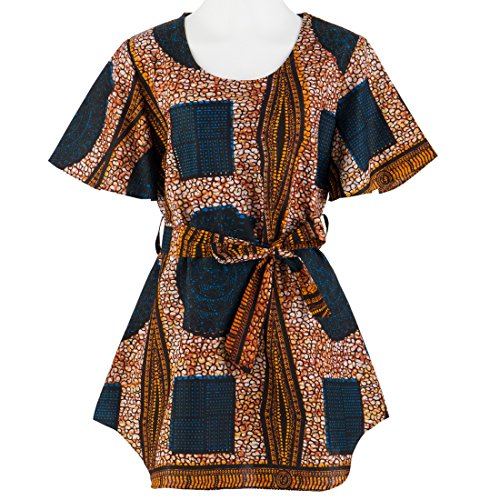 Candow Look Womens Round Neck African Wax Printed Fashion Clothing