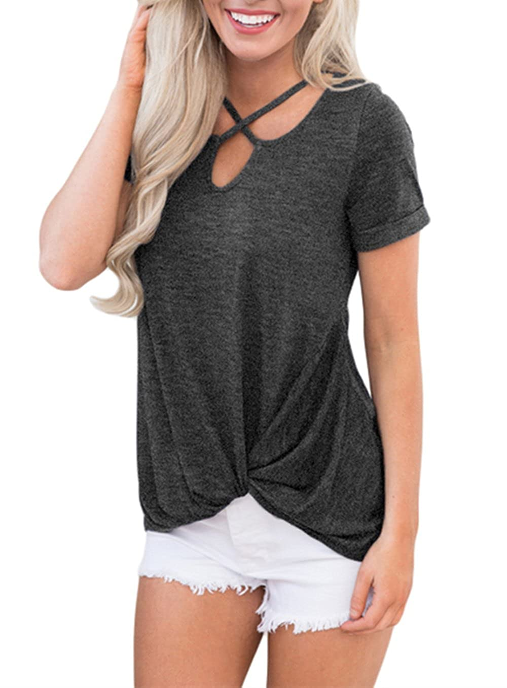 d12904ac491a0 Short Sleeve Shirt, V Neck T Shirt, Plus Size Tunic Top, Summer Blouses for  Women Criss-crossing neck, knotted detail and a stunning high-low cut.  Fashion ...