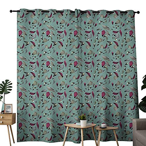 Prairie Velvet Natural Fabric - LewisColeridge Bathroom Curtains Vintage,Drawing Style Antique Rich Ornament with Buds Gentle Spring Nature Inspiration,Multicolor,Room Darkening Waterproof Curtains for Bathroom 52