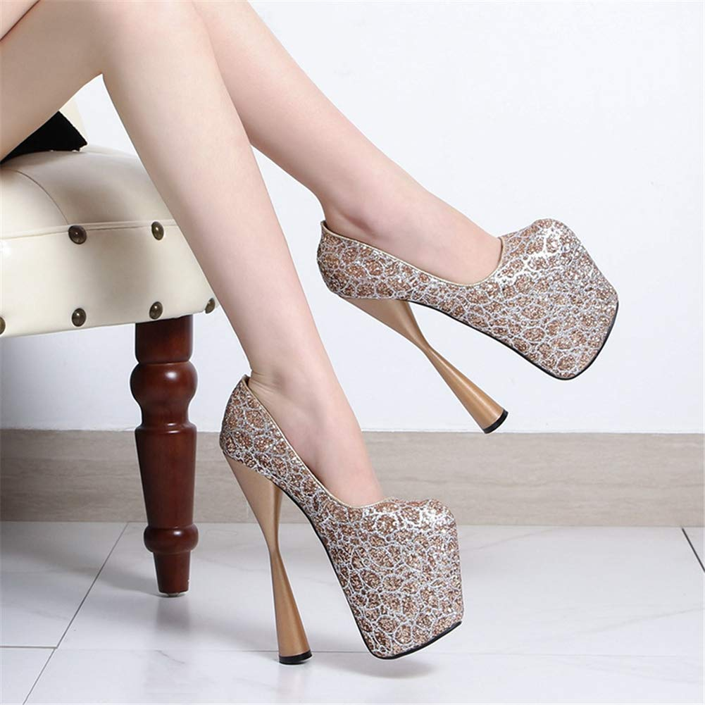 Womens Stiletto Heels High Heel Shoes Pumps Platform Closed Toe Slip On Wedding Evening Party Court Shoes Gold Size 3 4 5 6 7 8
