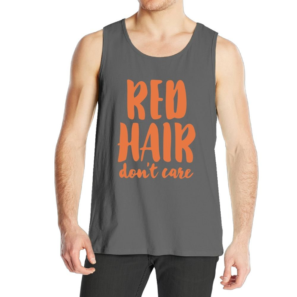 Jusxout Red Hair Dont Care Fitness Mens T Shirts Tank Tops