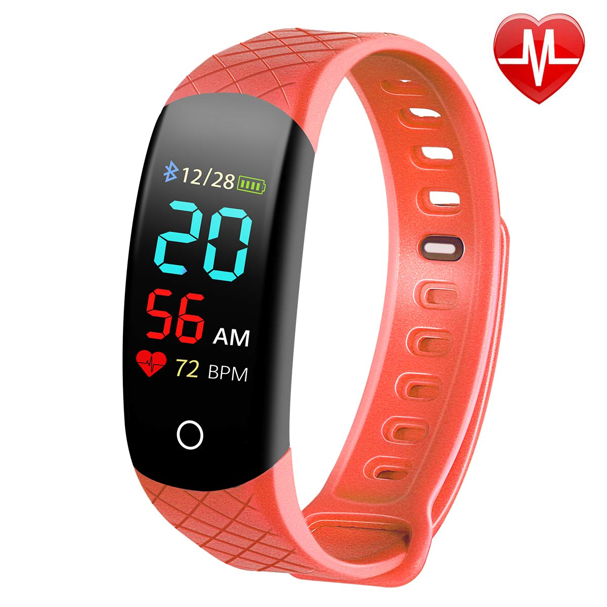 Busezy Fitness Tracker with Sleep Monitor, Heart Rate Monitor, Step Counter, Calorie Counter, Waterproof Smart Fitness Tracker for Kids, Women and Men. (red) by Busezy