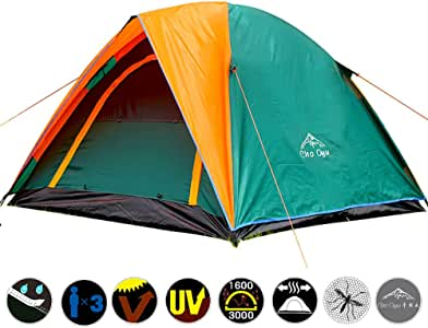Skytower Green Festival Plain Dome Camping Hiking Waterproof Compact 3-4 Persons Man Tent Outdoor