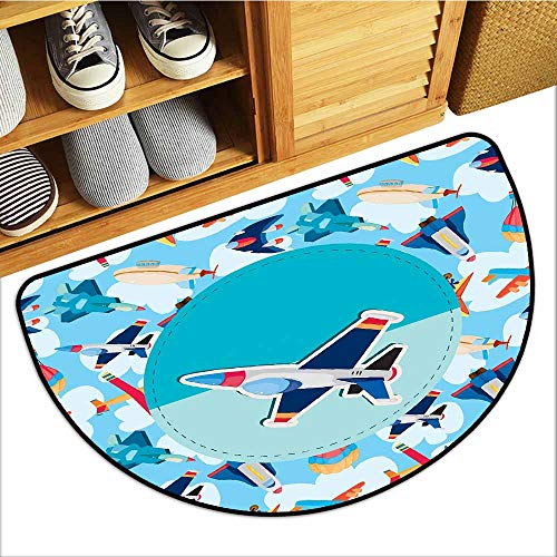 Commercial Grade Entrance Mat, Kids Party Doormats for High Traffic Areas, Airplane Collection with Different Vessels Commercial Airline Balloon Cartoon ( Multicolor, H16