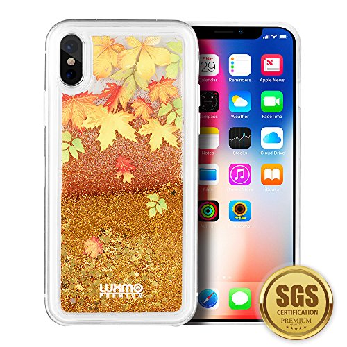Autumn Leaves Sparkling Cascading Liquid Waterfall Protective Case for iPhone X ()