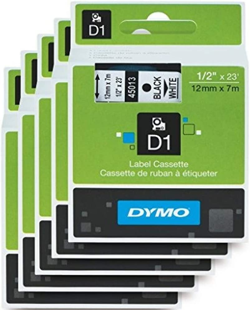 """DYMO Standard D1 Labeling Tape for Labe lManager Label Makers, Black Print on White Tape, 1/2"""" W x 23' L, 1 Cartridge (45013) 5 Pack"""