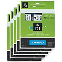 DYMO Standard D1 Labeling Tape for LabelManager Label Makers, Black print on White tape, 1/2'' W x 23' L, 1 catridge (45013) 5 PACK